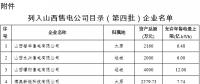 山西第四批售电公司目录企业名单