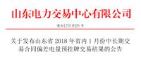 山东2018年省内1月中长期交易合同偏差电量预挂牌交易结果:交易电量282957兆瓦时