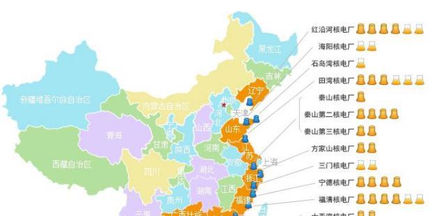 头条|中国大陆运营和在建核电分布图、大数据