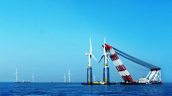 东海大桥风电场,在华锐风电总裁徐东福和业主上海东海风力发电有限