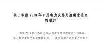 江苏开始申报2018年8月电力交易月度需求信息
