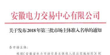 安徽2018年第三批市场主体准入名单