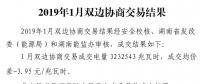 2019年湖南1月双边协商交易结果 价差-3.95元/兆瓦时